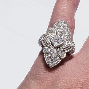 925 silver over gold ring, size 6